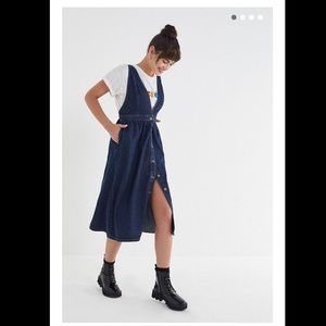 21c049483b Urban Outfitters Dresses - UO Danny Plunging Button-Down Denim Midi Dress
